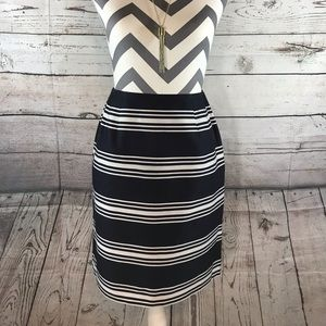 Talbots Petites Navy/White Striped Skirt Sz 2